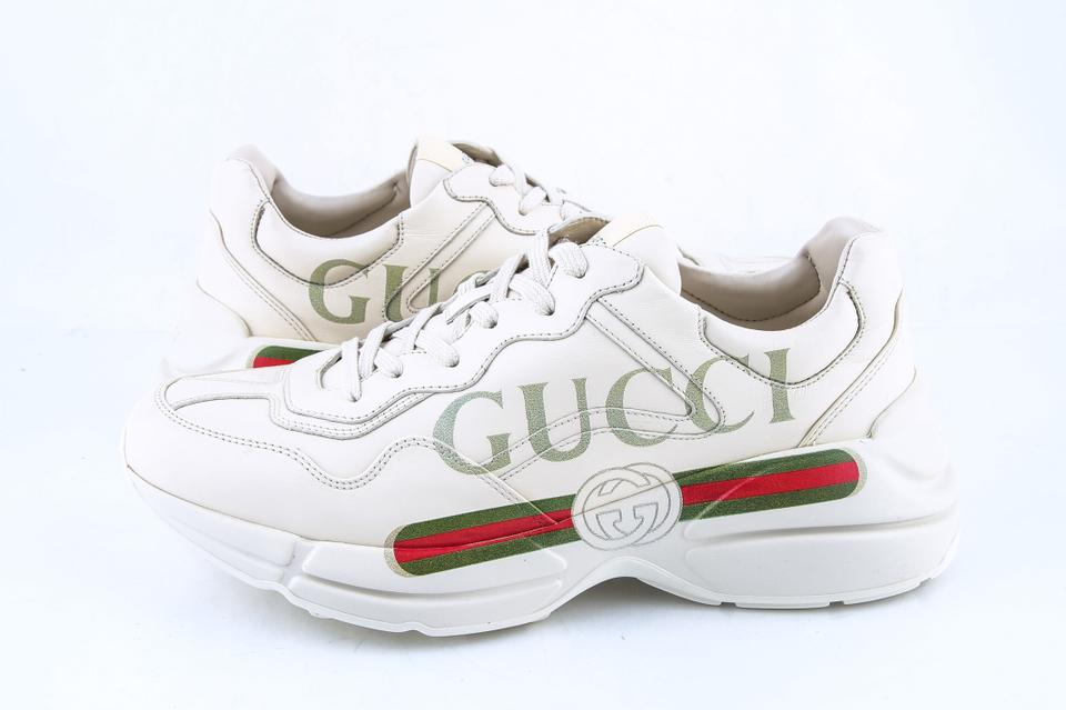 071ada306f7 Gucci * Ivory Rhyton Logo Leather Sneaker Shoes 7% off retail
