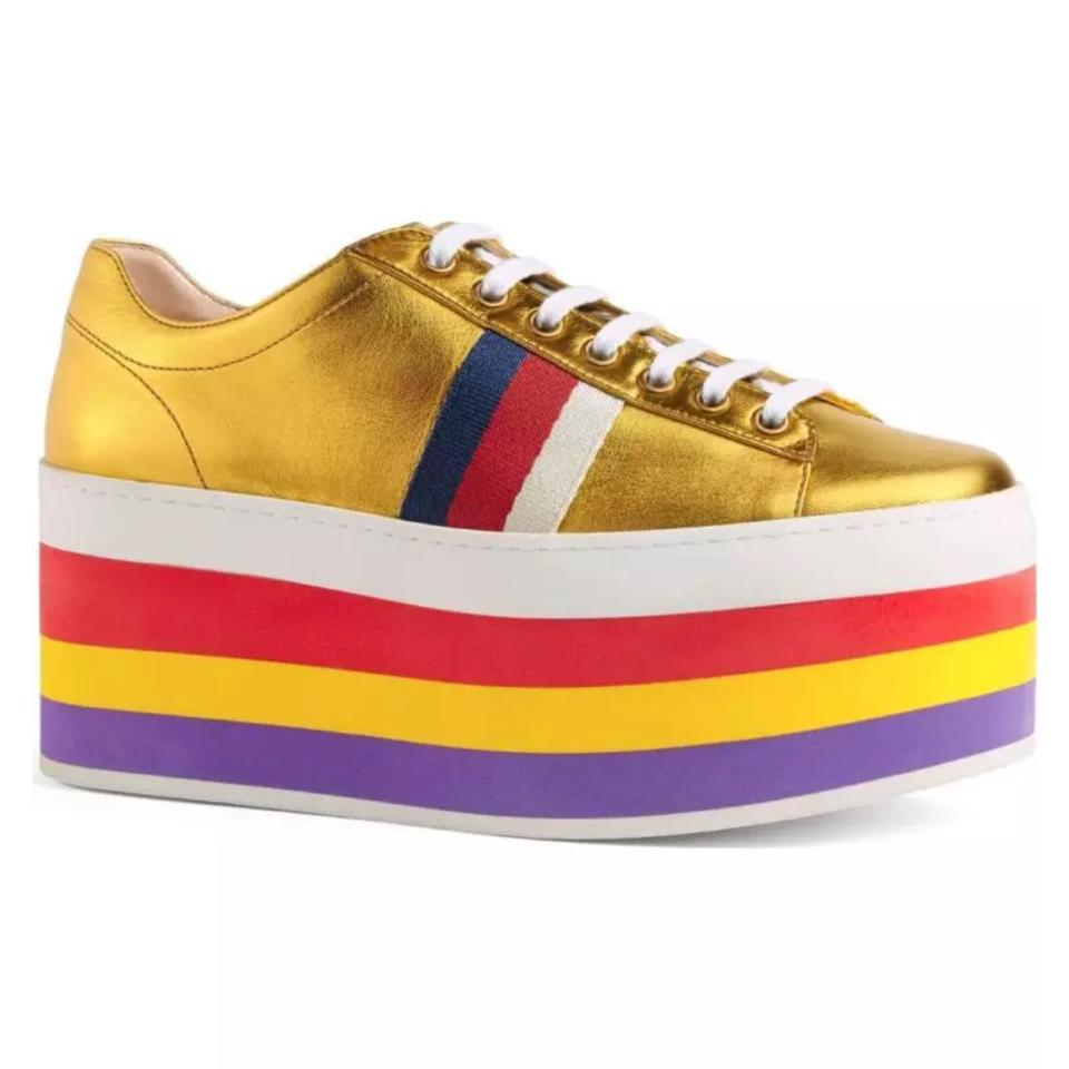4e28b1cf88e Gucci Peggy Leather Platform Sneaker Metallic Gold Rainbow Sneakers ...