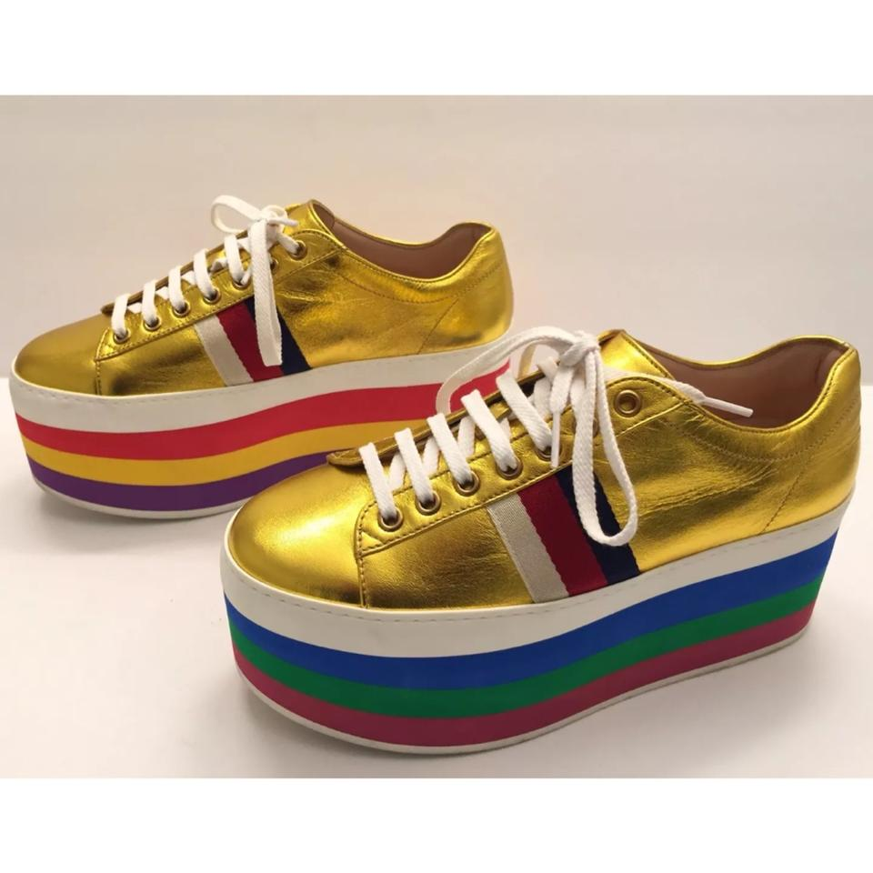 51359c705ed4 Gucci Peggy Leather Platform Sneaker Metallic Gold Rainbow Sneakers Size EU  37.5 (Approx. US 7.5) Regular (M