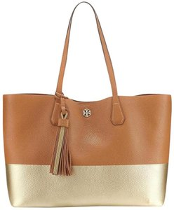 Tory Burch Summer Beach Tote in Gold Bark tan metallic