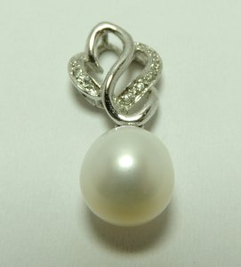 New'925 Sterling Silver + Platinum Rhinesstone Pearl Pendant P005
