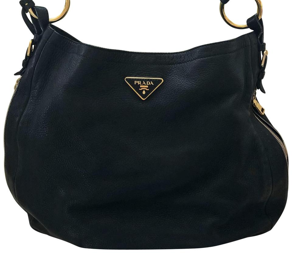 42fbd7af3d Prada Black Deerskin Leather Hobo Bag - Tradesy