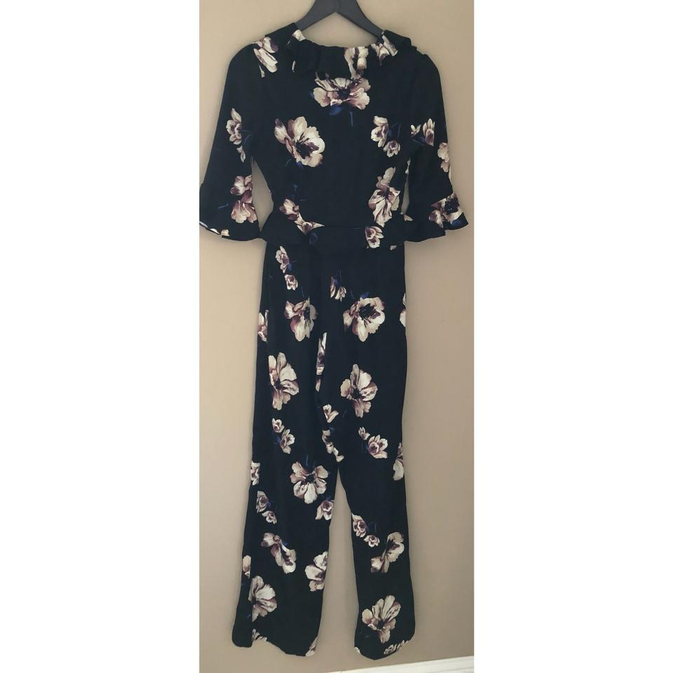 222f17602f2 Honey Punch Black and Floral Print Cut Out Jumpsuit Blouse Size 4 (S ...