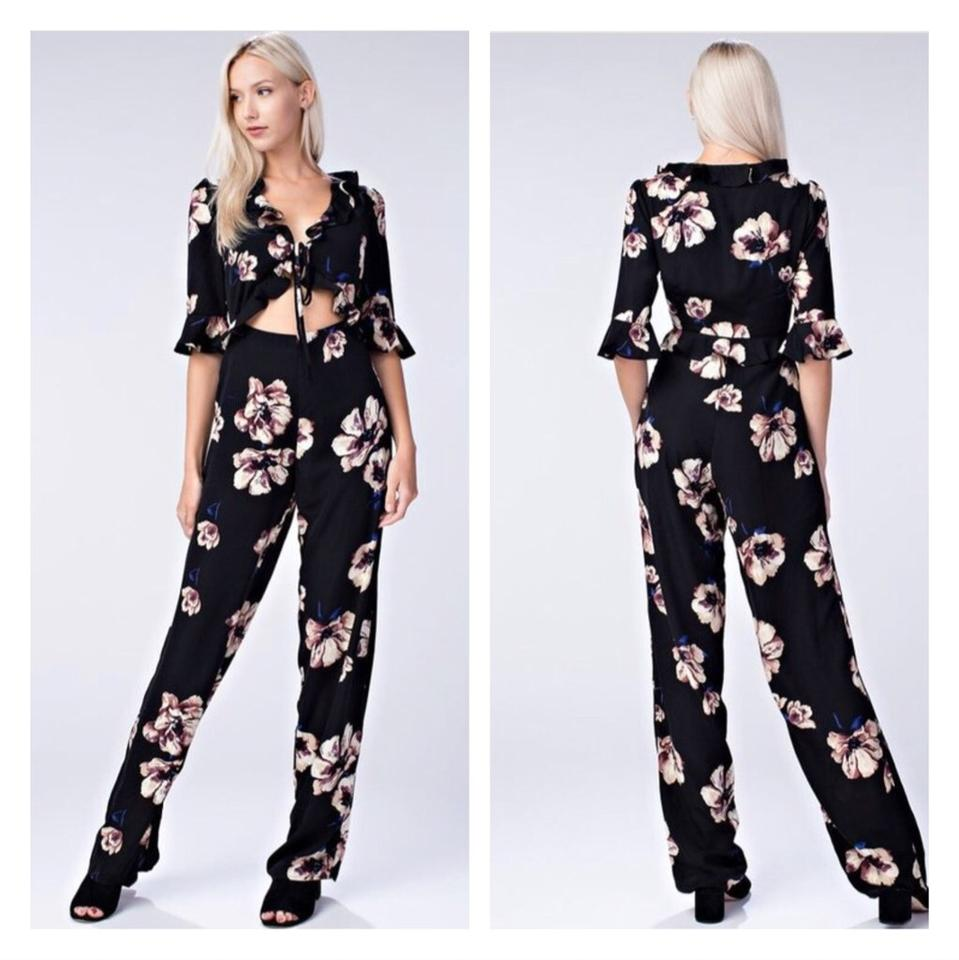 f27ab5e4ff90 Honey Punch Black   Floral Print Cut Out Romper Jumpsuit - Tradesy