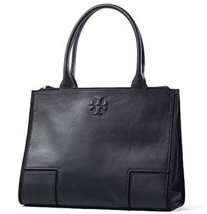 Tory Burch Lightweight Leather Business Laptop Travel Tote in Black