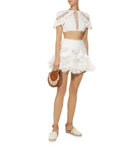 DIOR BELLA Lace Mini Summer Mini Skirt White