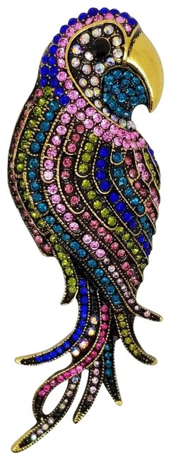 Item - Multi-color Antique Bronze Czech Round Crystal Parrot Macaw Bird Pin