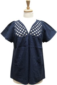 Built By Wendy Lattice Patch Pockets Net Cotton Top Navy