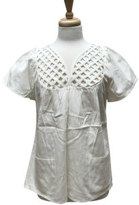 Built By Wendy Lattice Patch Pockets Cotton White/Natural Net Top Natural White