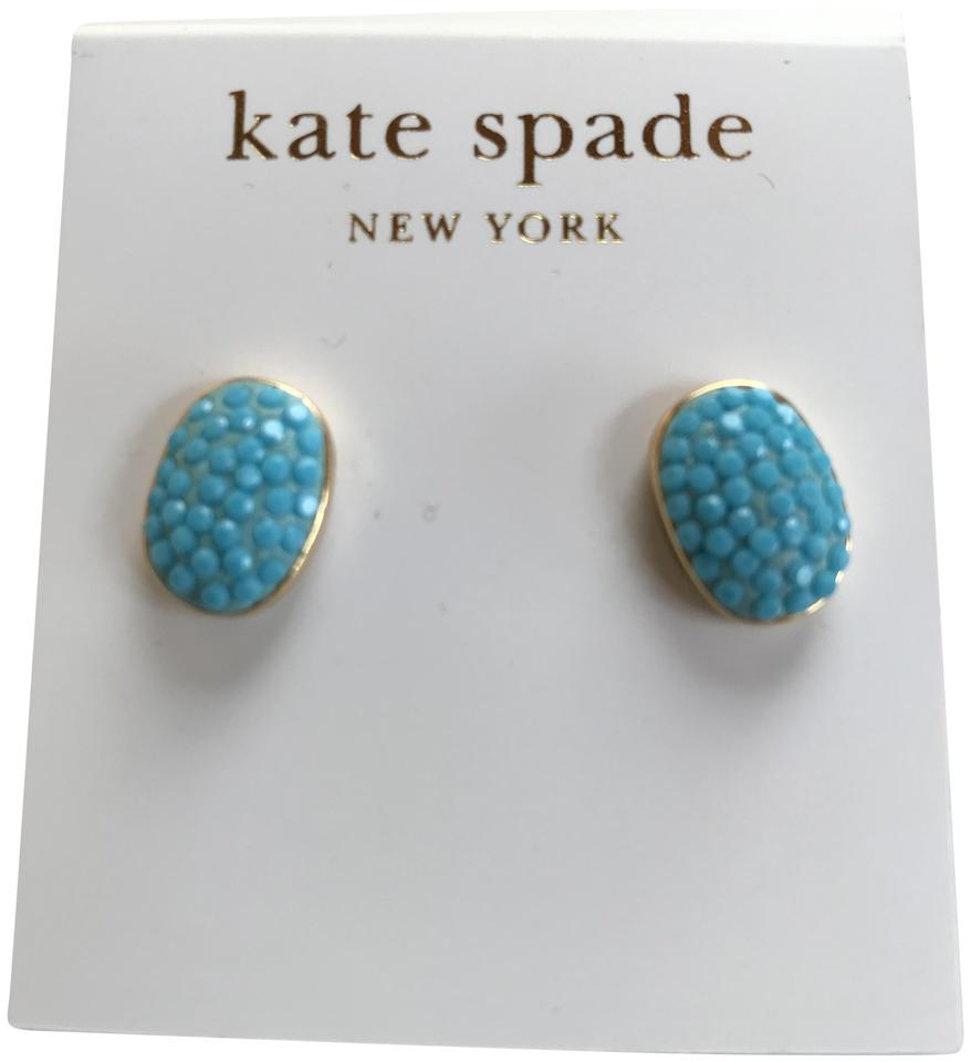 3b1a082fe73ca Kate Spade Gold Plated Light Blue Stud Earrings 17% off retail