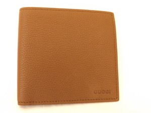 Gucci Nut Brown Textured Leather Calf Bifold Large Wallet #150413 Men's Jewelry/Accessory