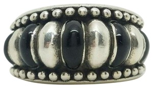 Bali BALI 925 STERLING SILVER AND BLACK ENAMEL FLUTED DOME RING SIZE 9