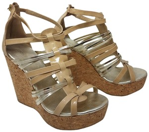 Jimmy Choo Cage Strappy Ankle Hardware Fathom Beige, Gold Sandals