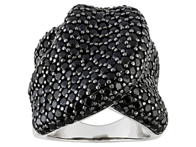 Item - Black 6.70cttw 297 Round Spinels Pave Set Ribbon Dome Sterling Ring