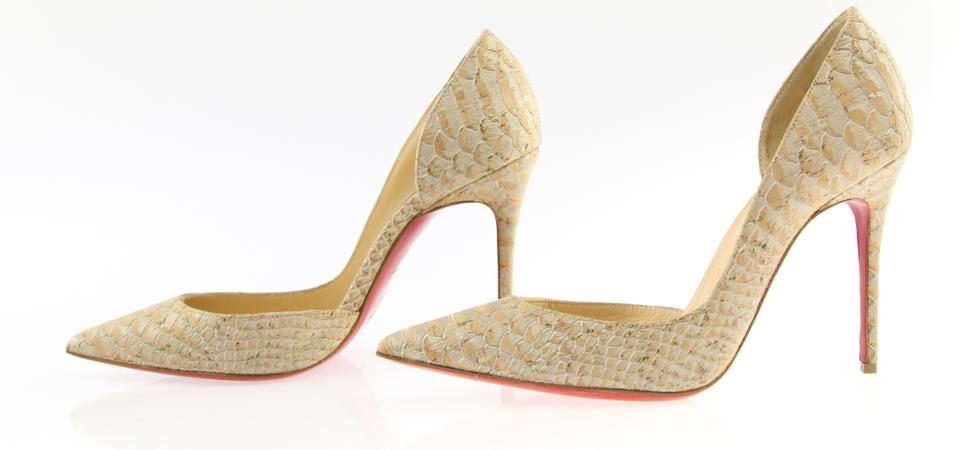 Leather Christian Snake embossed Classic Pumps Iriza Natural Louboutin Beige D'orsay q7Pg6f