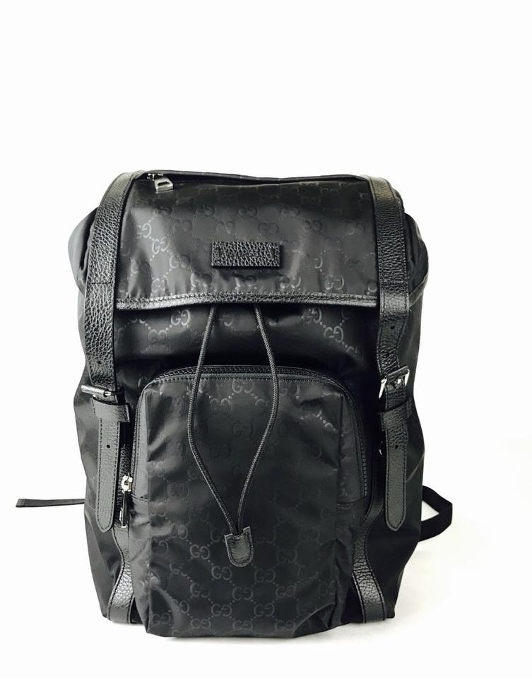 Gucci Drawstring W Black Leather Trim 510336 Black Nylon Backpack ... 05043cb308a03