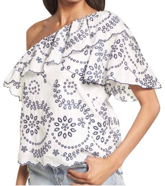 Item - White Judith Embroidered Cotton One-shoulder Blouse Size 8 (M)