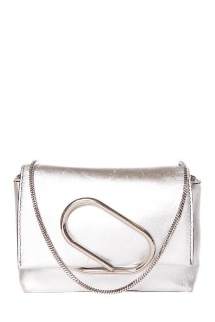 Item - Micro Cross-body Silver Leather Shoulder Bag