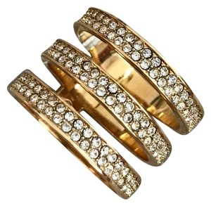 Michael Kors Gold Crystal Tri-Stack Ring $125