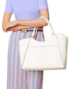 Tory Burch Summer Leather Tote in Ivory white