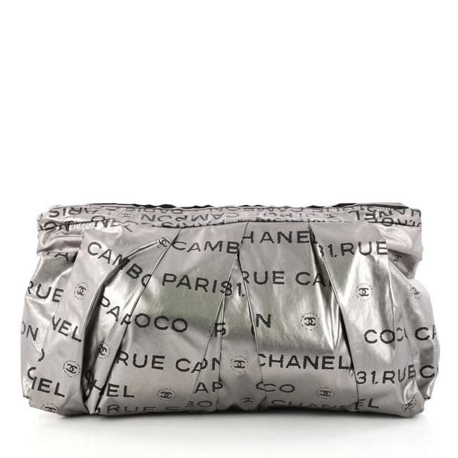 Item - Cambon 31 Rue Large Silver and Black Nylon Clutch