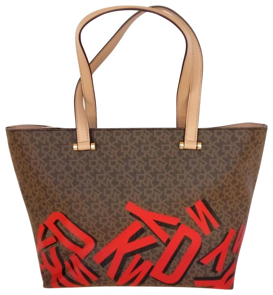 Dkny Logo Leather Upper Tote In Brown Red