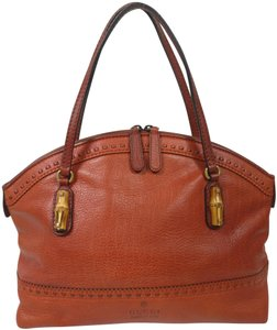 Gucci Gg Monogram Leather Satchel Bamboo Tote in Orange