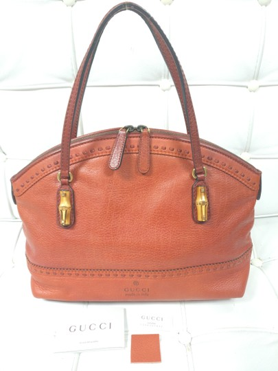 bb9d09a663faaf Gucci Gg Monogram Leather Satchel Bamboo Tote in Orange Image 2