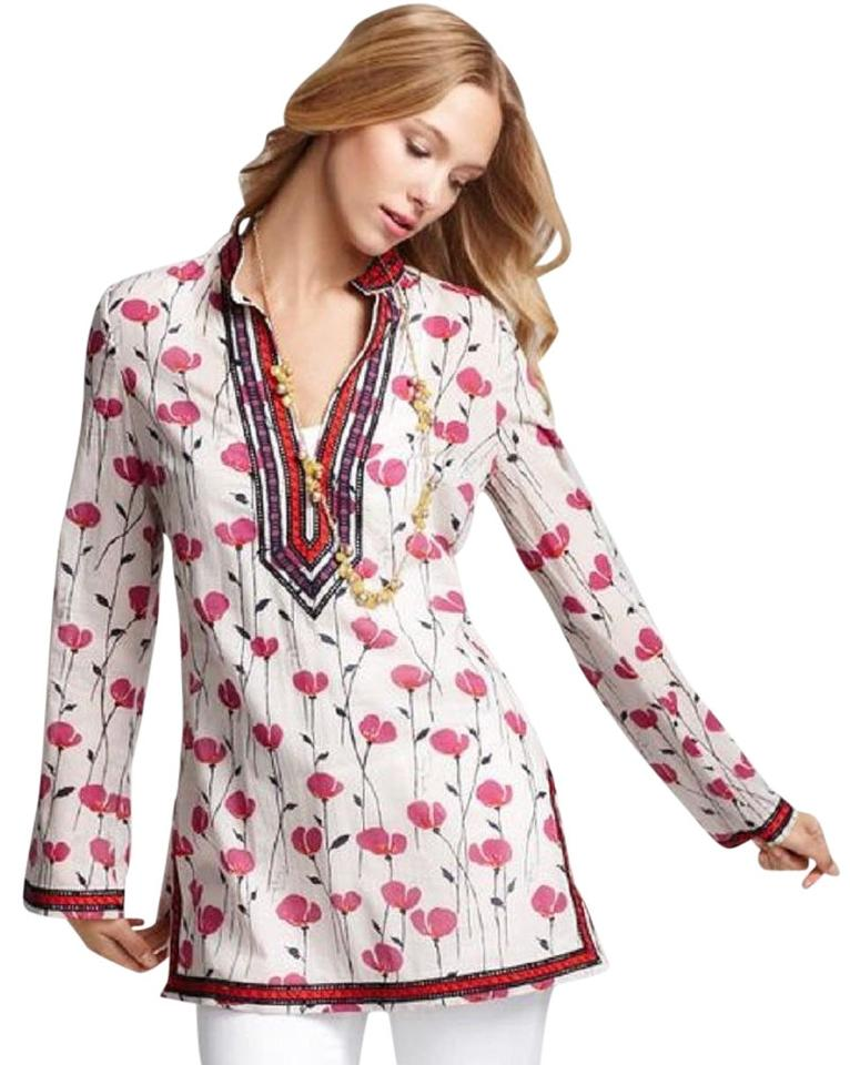 56aa47211cf7 Tory Burch Pink White Poppy Print with Tags New Xs 0 Tunic Size 0 ...