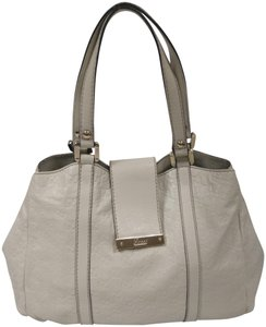 Gucci Gg Monogram Web Leather Tote in off white