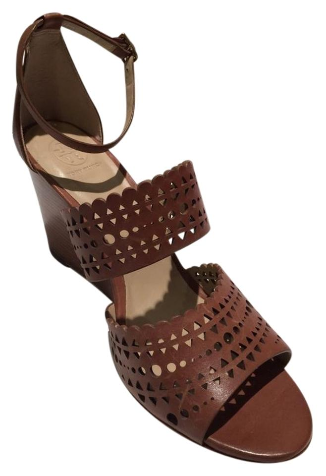 d04cc6c3983 Tory Burch Brown Perforated Gladiator Wedge Sandals Size US 8 ...