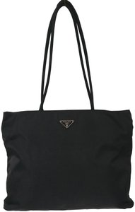 Prada Nylon Tessuto Shoulder Tote in Black