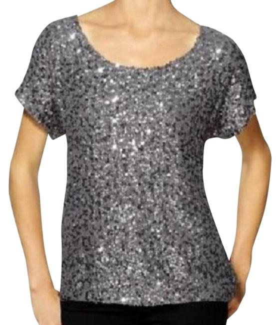 Item - Silver Sequined-chiffon Gunmetal - Small Blouse Size 4 (S)