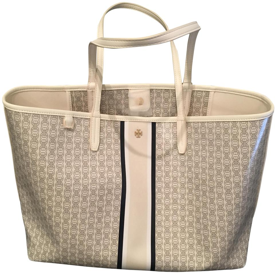 b60d5c785dc Tory Burch New Ivory Gemini Link Stripe Canvas Tote - Tradesy