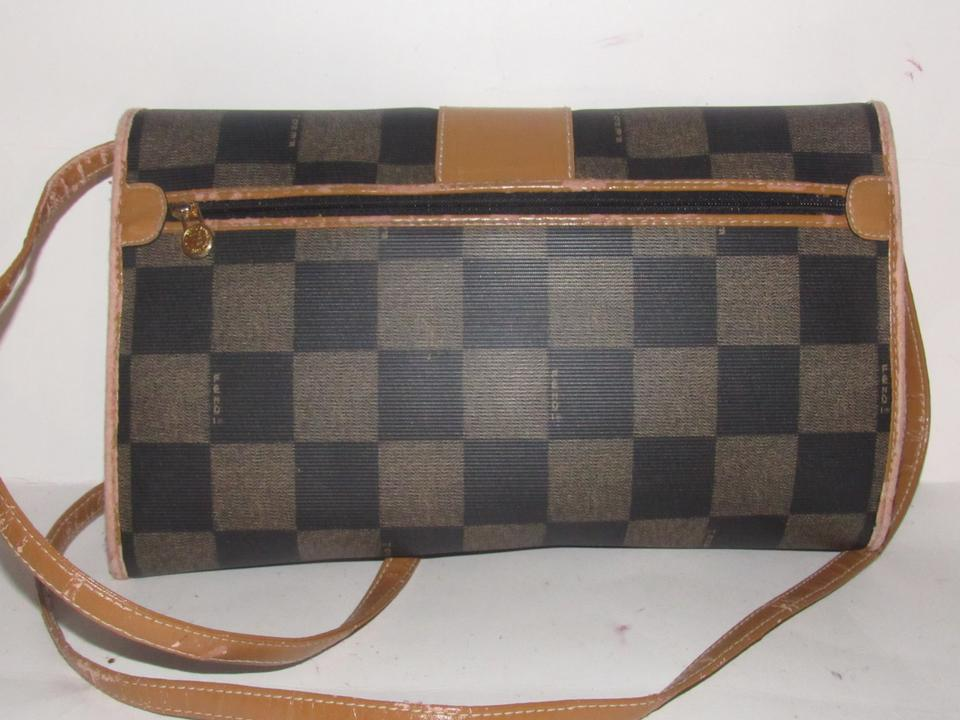5476f3b69762 Fendi Vintage Purses Designer Purses Brown Checkerboard Print Coated Canvas  and Camel Leather Shoulder Bag - Tradesy