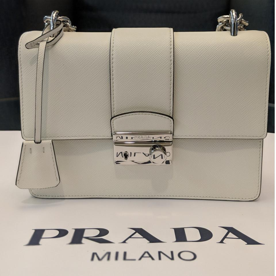 dc378b14d84185 Prada Pattina Saffiano 1bd034 Bianco White Leather Shoulder Bag ...