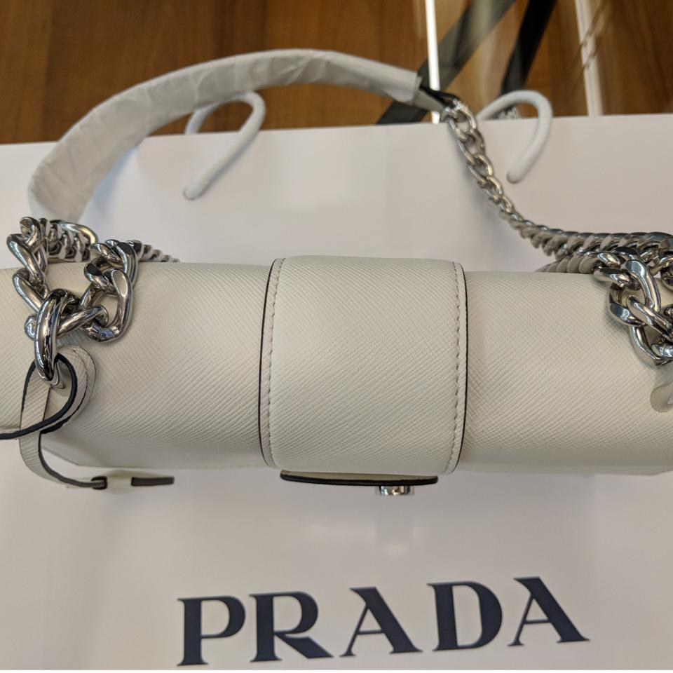 810f0601ea2e Prada Pattina Saffiano 1bd034 Bianco White Leather Shoulder Bag - Tradesy