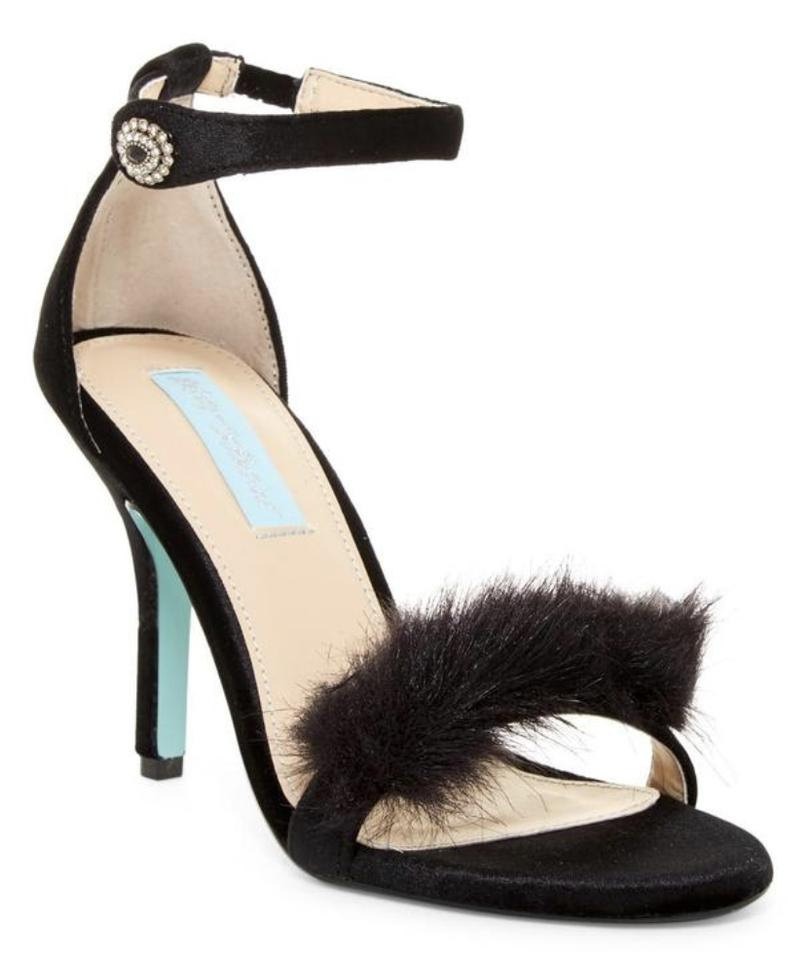 d775138d913 Betsey Johnson Black New Nolte Faux Fur Sandals Heels Sandals Size ...