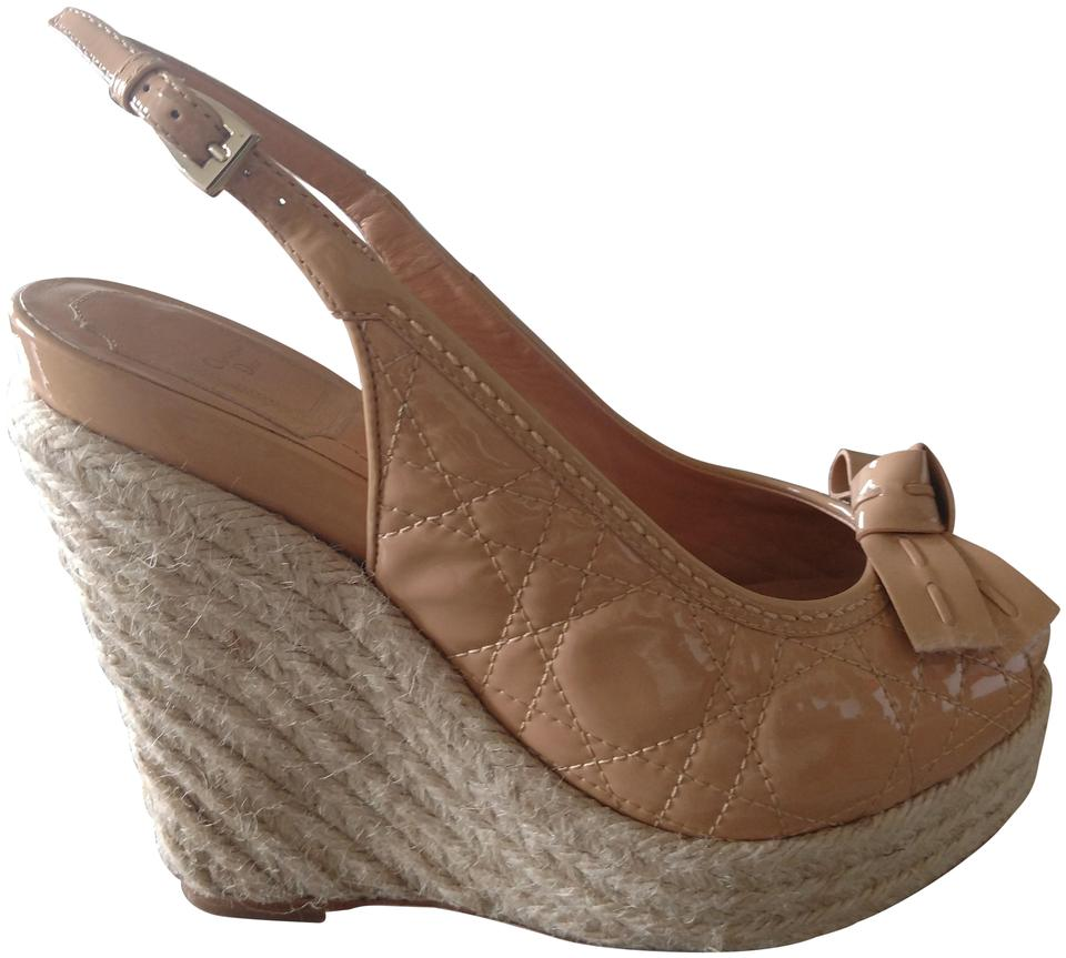 e387323bb96 Dior beige christian quilted patent leather espadrille wedges size jpg  960x863 Dior wedges