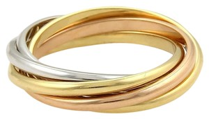 Cartier Trinity 18k Tri-Color Gold 5 Rolling Band Ring Size 47 US 4.25 Cert