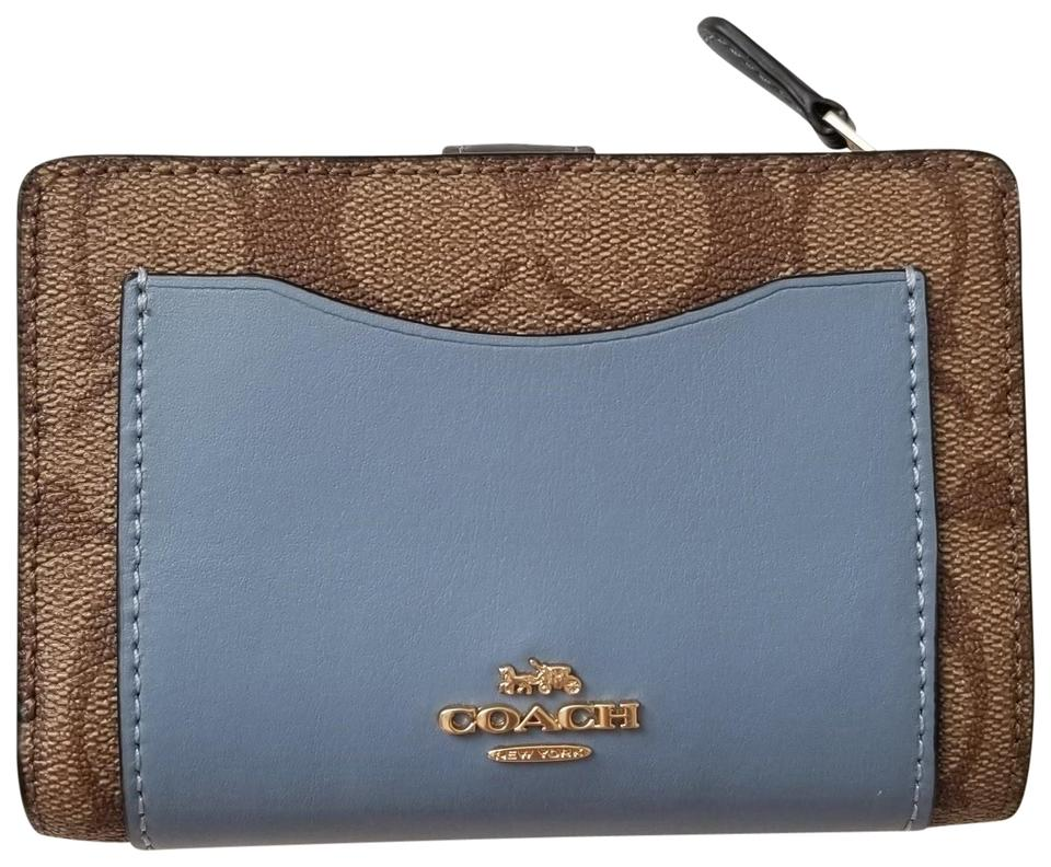 94f80f37c00b Coach NEW COACH signature logo leather Medium Short Wallet photo coins Blue  ...