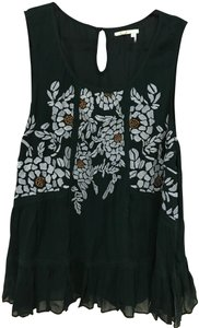 Floreat Embroidered Embellished Lace Trim Metallic Top Teal