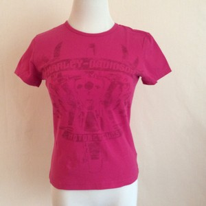Harley Davidson Ghost Print Design T Shirt Hot Pink