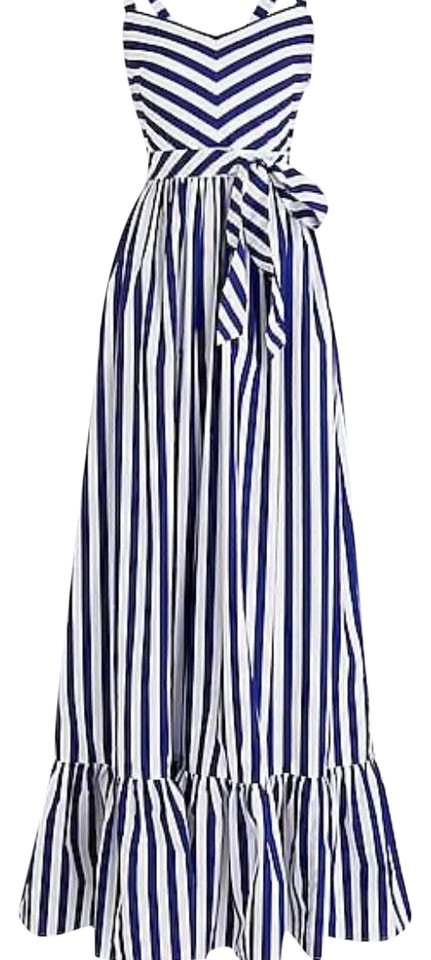87bb515da0c J.Crew Blue and White Striped Ruffle Long Casual Maxi Dress Size 2 ...