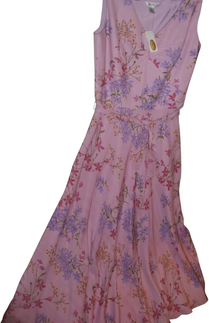 Item - Pure Silk Lined Maxi Summer Lavender Flowers On Pastel Pink Long Work/Office Dress Size 6 (S)