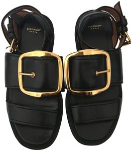 Givenchy Buckle Leather Ankle Straps Sandal Black Flats