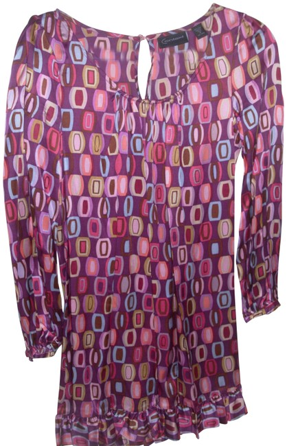 Item - Silk Psychedelic Mod Retro 60s Fun Colorful Bright Youthful Mid-length Work/Office Dress Size 4 (S)