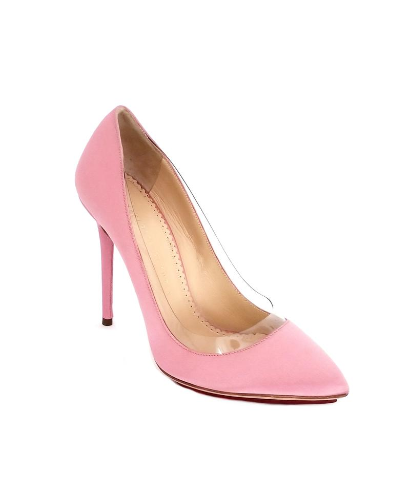 f7a7a7fde285 Charlotte Olympia Pink Girl Satin Party Pvc Pumps Size US 9 Regular ...