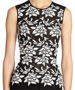 BCBGMAXAZRIA Lace Peplum Top Black, White