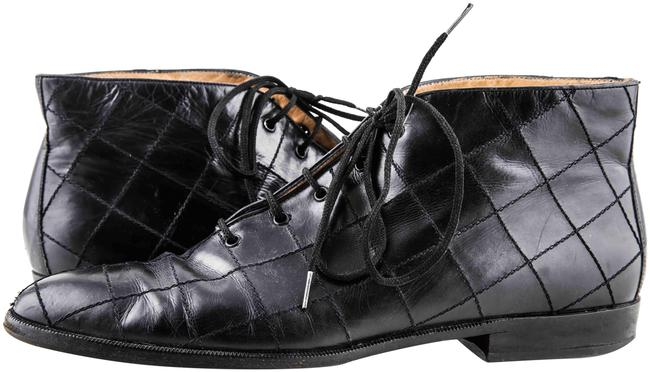 Item - Black Quilted Leather Lace Up Ankle Boots/Booties Size US 10 Regular (M, B)